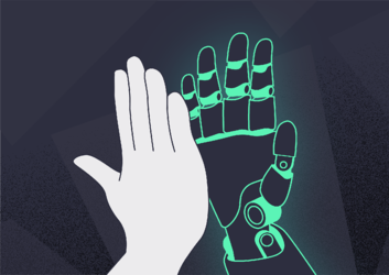 High five with a robotic hand