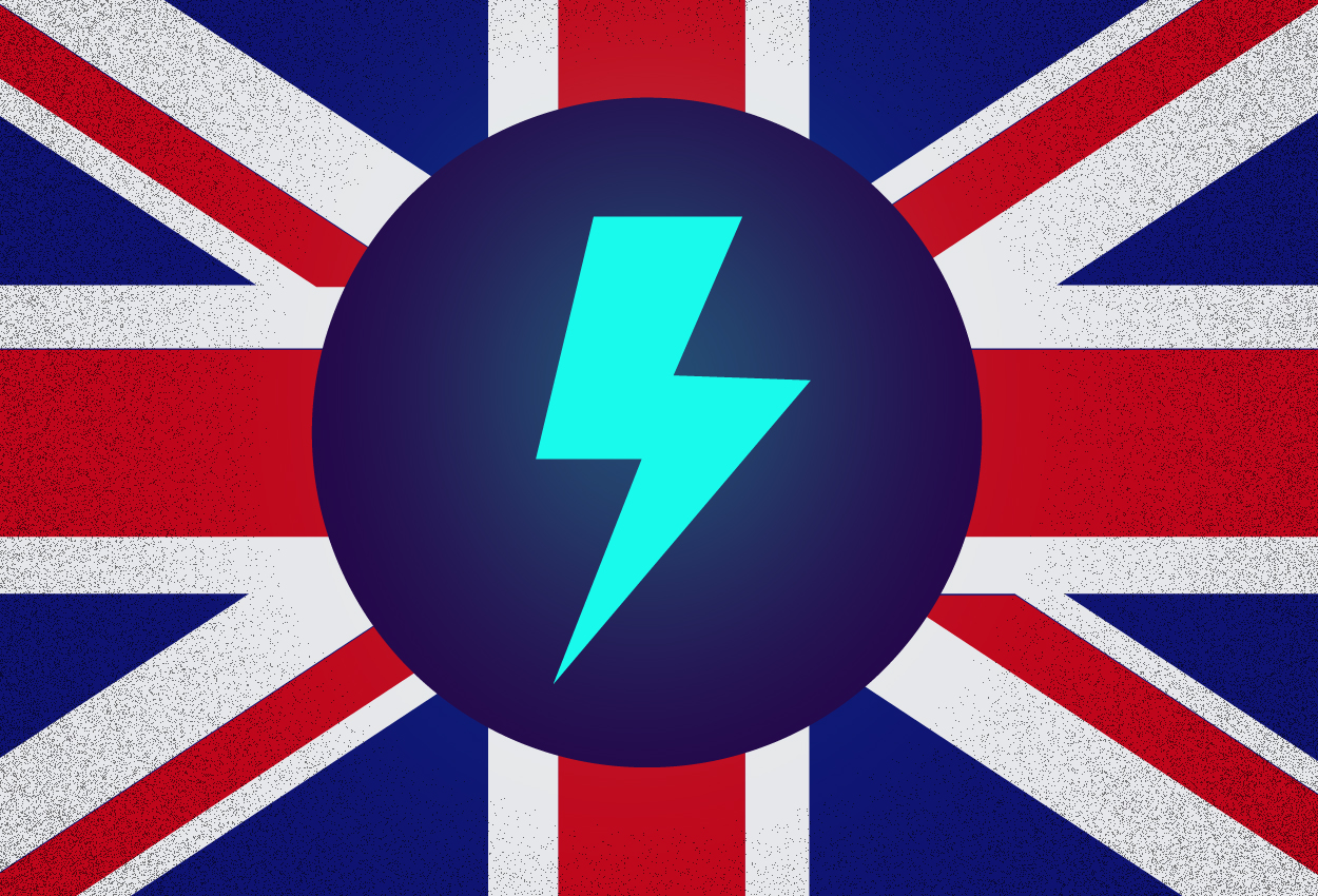UK flag with electricity bolt